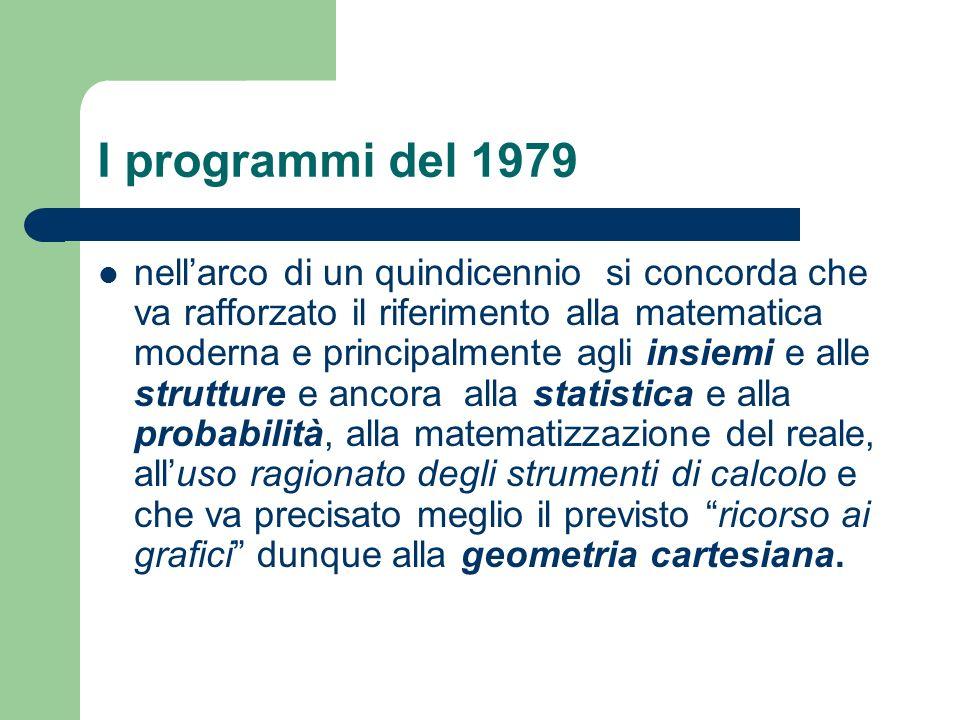 I programmi del 1979 nellarco di un quindicennio si concorda che va rafforzato il riferimento alla matematica moderna e principalmente agli insiemi e