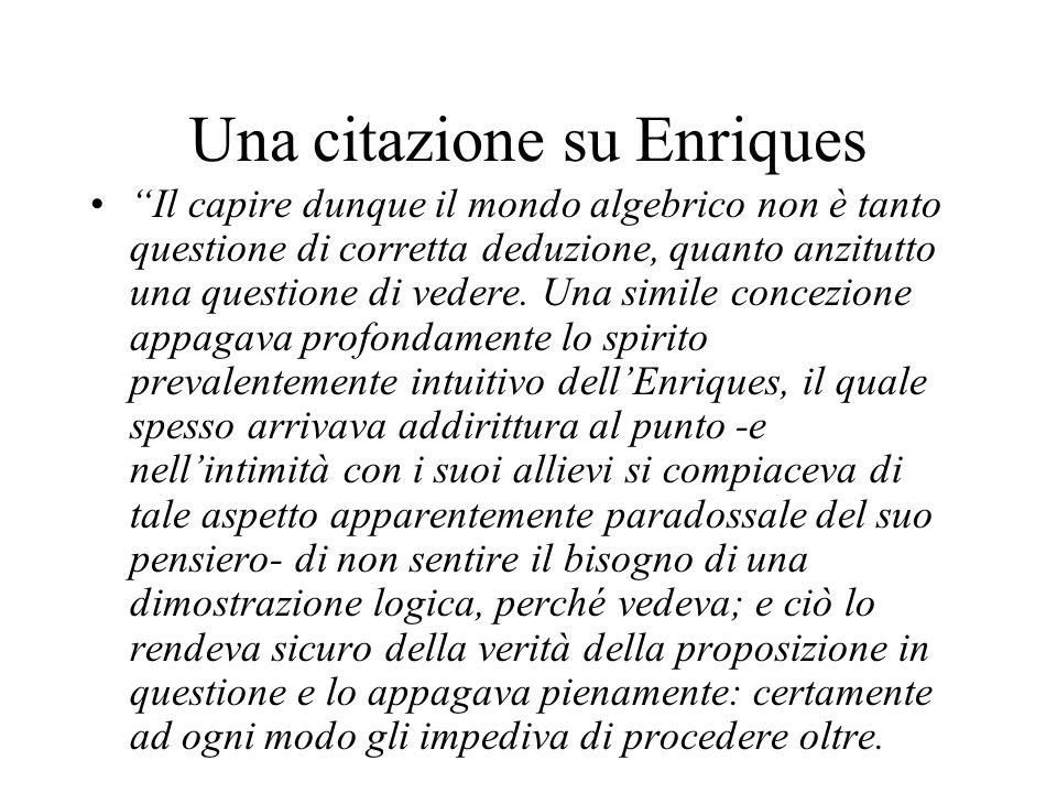 Una citazione su Enriques Il capire dunque il mondo algebrico non è tanto questione di corretta deduzione, quanto anzitutto una questione di vedere. U