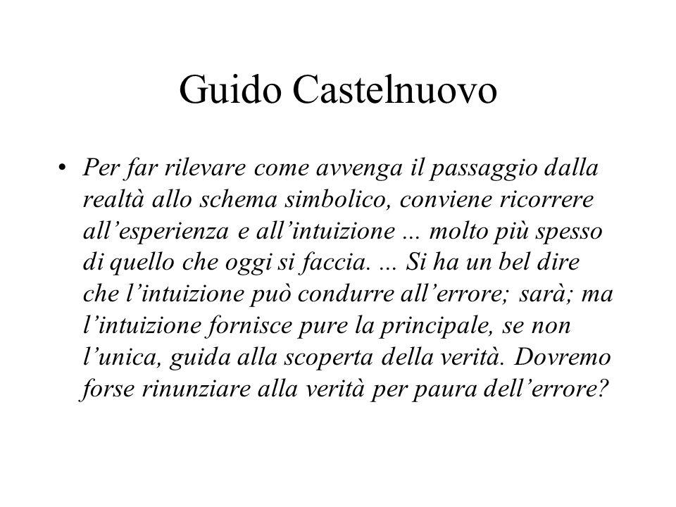 Guido Castelnuovo Per far rilevare come avvenga il passaggio dalla realtà allo schema simbolico, conviene ricorrere allesperienza e allintuizione... m