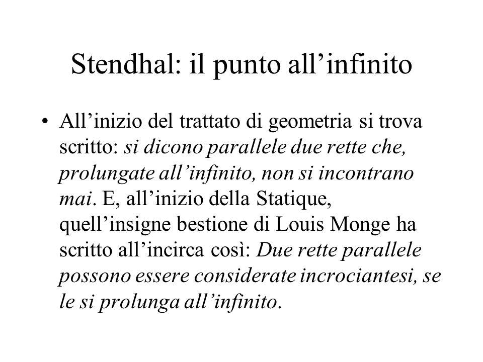 Stendhal: il punto allinfinito Allinizio del trattato di geometria si trova scritto: si dicono parallele due rette che, prolungate allinfinito, non si