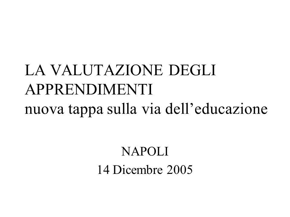 LA VALUTAZIONE DEGLI APPRENDIMENTI nuova tappa sulla via delleducazione NAPOLI 14 Dicembre 2005