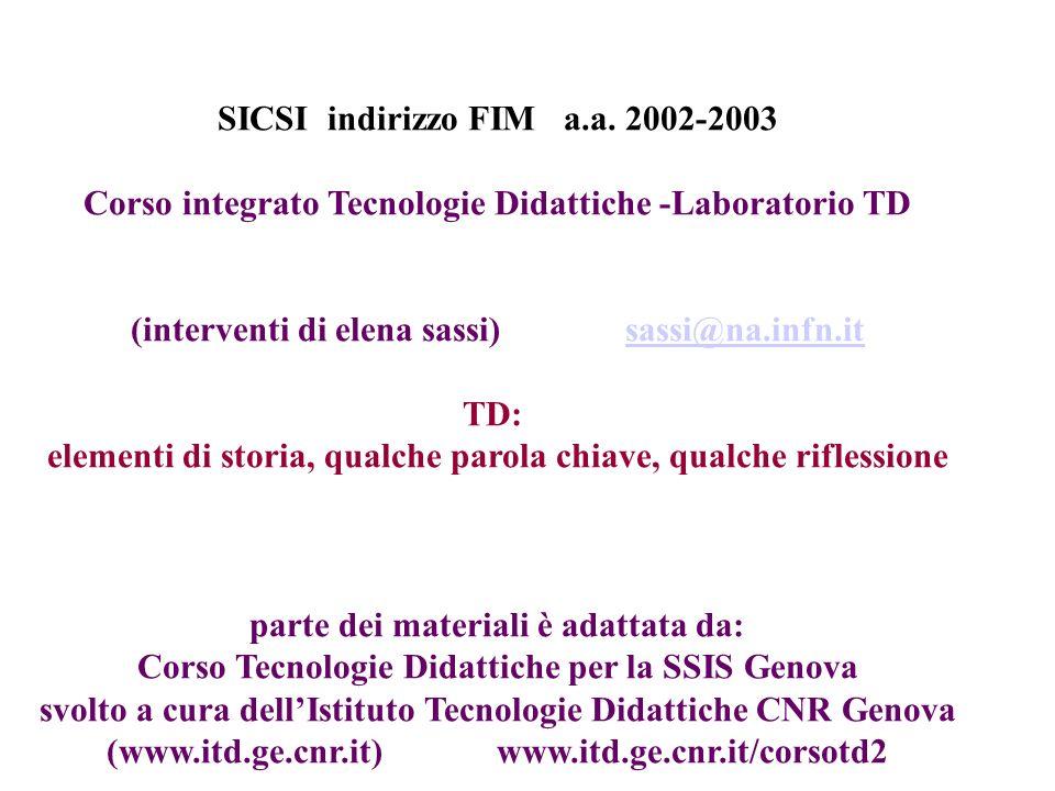 SICSI indirizzo FIM a.a. 2002-2003 Corso integrato Tecnologie Didattiche -Laboratorio TD (interventi di elena sassi) sassi@na.infn.itsassi@na.infn.it