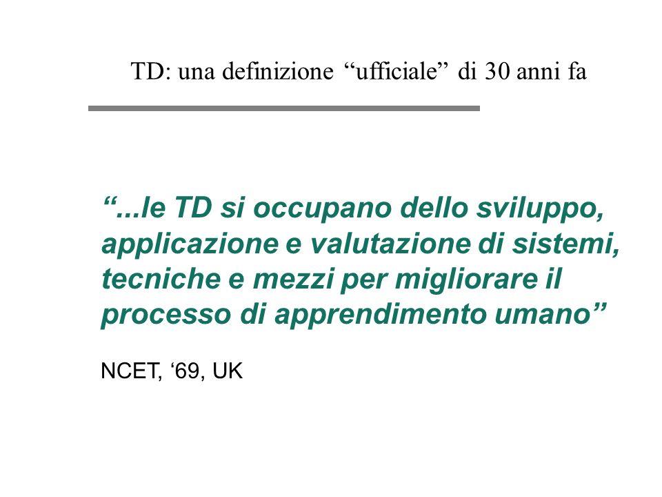TD: una definizione ufficiale di 30 anni fa...le TD si occupano dello sviluppo, applicazione e valutazione di sistemi, tecniche e mezzi per migliorare