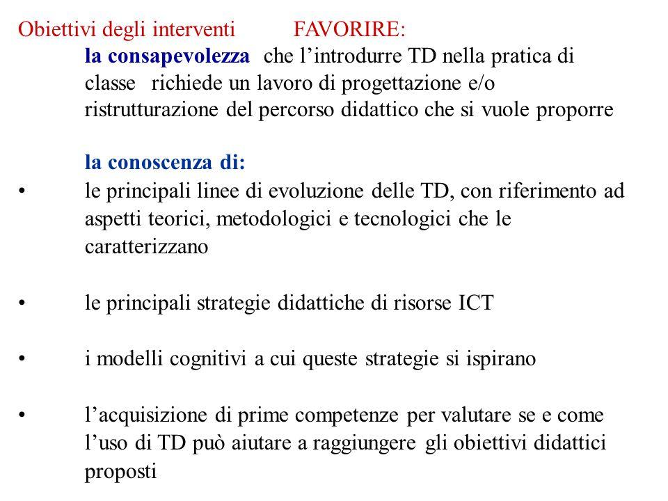 Obiettivi degli interventi FAVORIRE: la consapevolezza che lintrodurre TD nella pratica di classe richiede un lavoro di progettazione e/o ristrutturaz