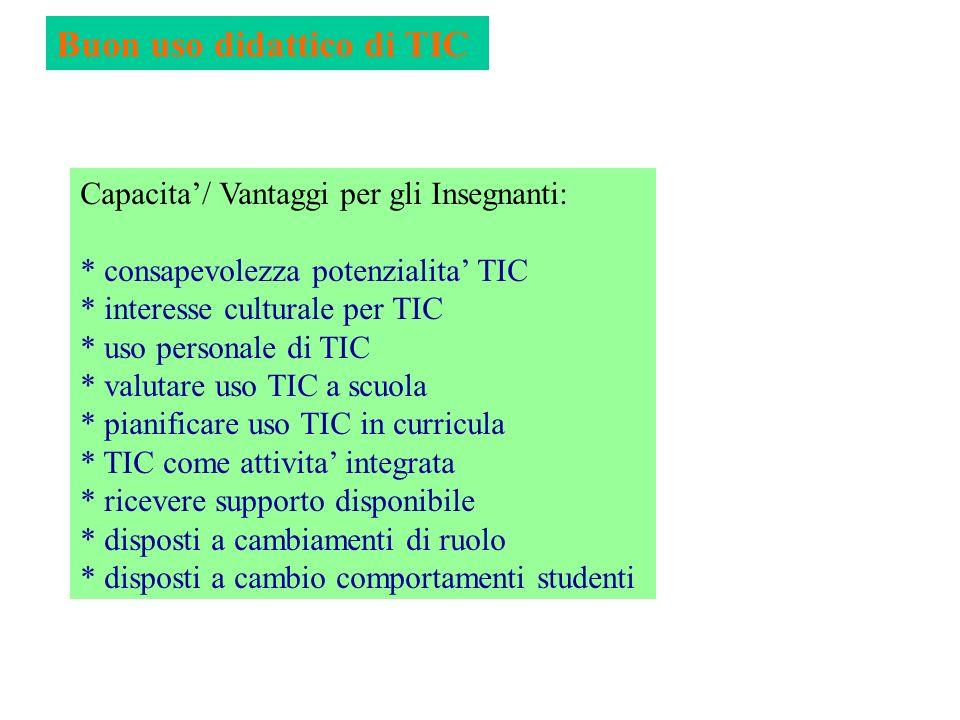Buon uso didattico di TIC Capacita/ Vantaggi per gli Insegnanti: * consapevolezza potenzialita TIC * interesse culturale per TIC * uso personale di TI