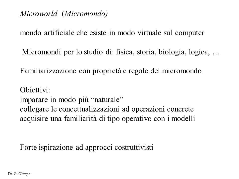 Microworld (Micromondo) mondo artificiale che esiste in modo virtuale sul computer Micromondi per lo studio di: fisica, storia, biologia, logica, … Fa
