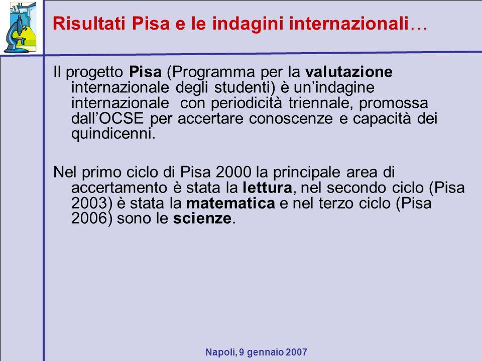 Napoli, 9 gennaio 2007 … Risultati Pisa e le indagini internazionali… Il progetto Pisa (Programma per la valutazione internazionale degli studenti) è unindagine internazionale con periodicità triennale, promossa dallOCSE per accertare conoscenze e capacità dei quindicenni.