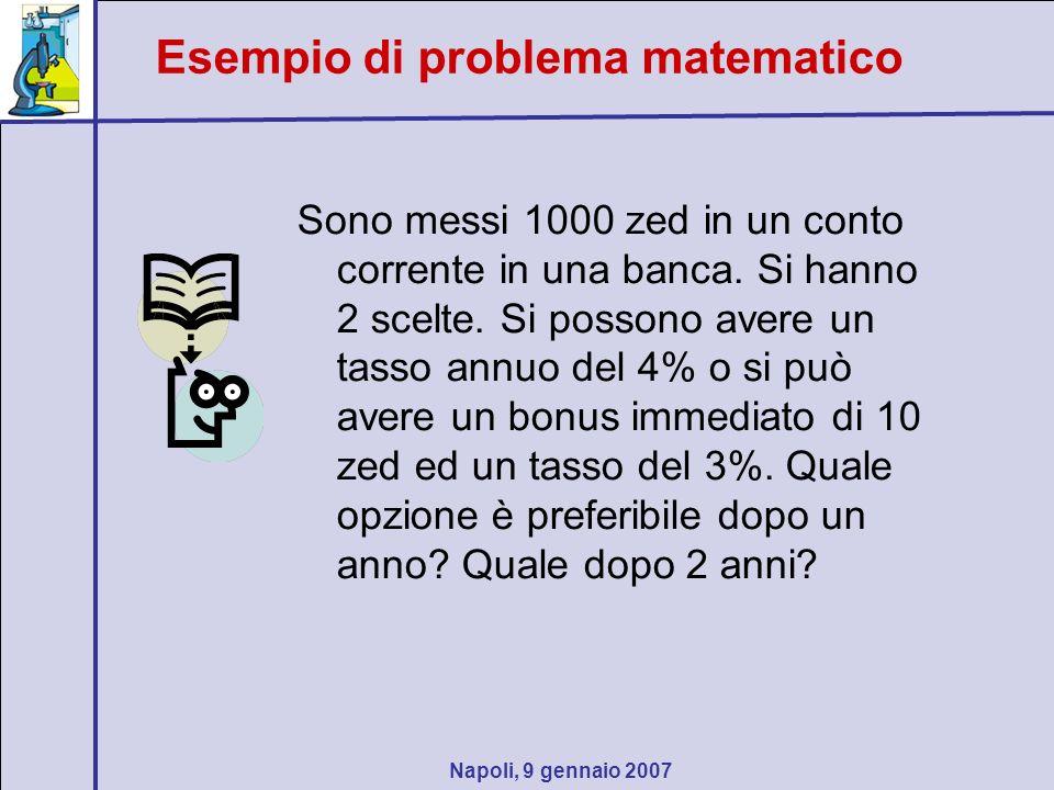 Esempio di problema matematico Sono messi 1000 zed in un conto corrente in una banca. Si hanno 2 scelte. Si possono avere un tasso annuo del 4% o si p