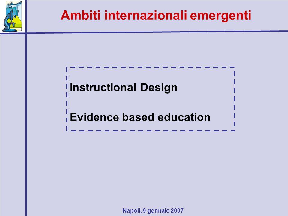 Napoli, 9 gennaio 2007 Instructional Design Evidence based education Ambiti internazionali emergenti