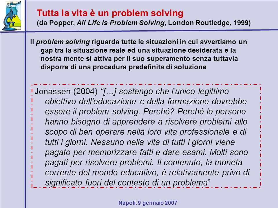 Napoli, 9 gennaio 2007 Il problem solving riguarda tutte le situazioni in cui avvertiamo un gap tra la situazione reale ed una situazione desiderata e