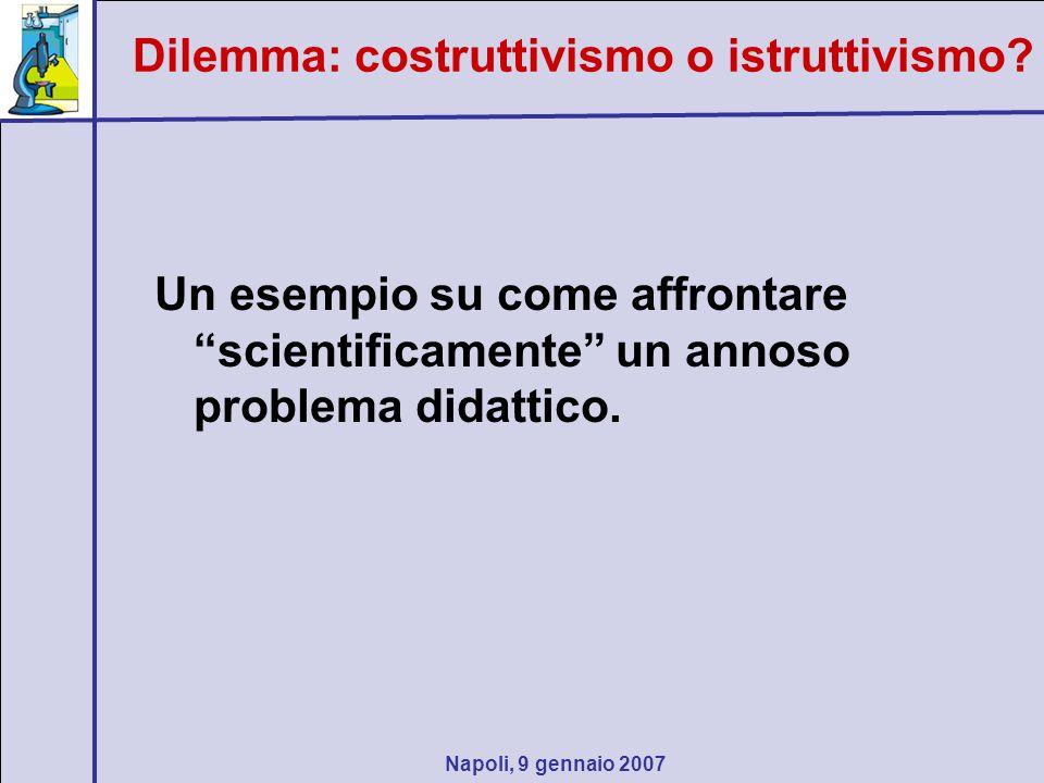 Napoli, 9 gennaio 2007 Un esempio su come affrontare scientificamente un annoso problema didattico. Dilemma: costruttivismo o istruttivismo?