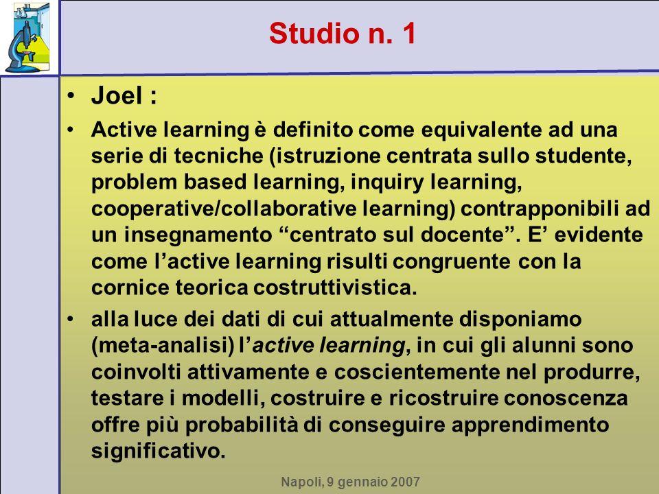 Napoli, 9 gennaio 2007 Joel : Active learning è definito come equivalente ad una serie di tecniche (istruzione centrata sullo studente, problem based learning, inquiry learning, cooperative/collaborative learning) contrapponibili ad un insegnamento centrato sul docente.