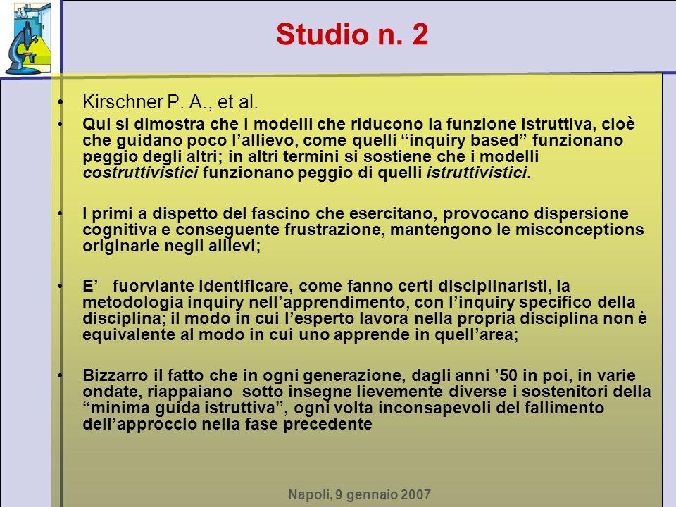 Napoli, 9 gennaio 2007 Kirschner P. A., et al. Qui si dimostra che i modelli che riducono la funzione istruttiva, cioè che guidano poco lallievo, come