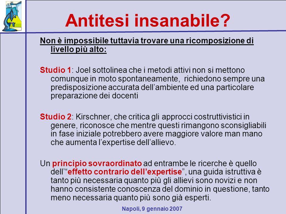 Napoli, 9 gennaio 2007 Antitesi insanabile? Non è impossibile tuttavia trovare una ricomposizione di livello più alto: Studio 1: Joel sottolinea che i