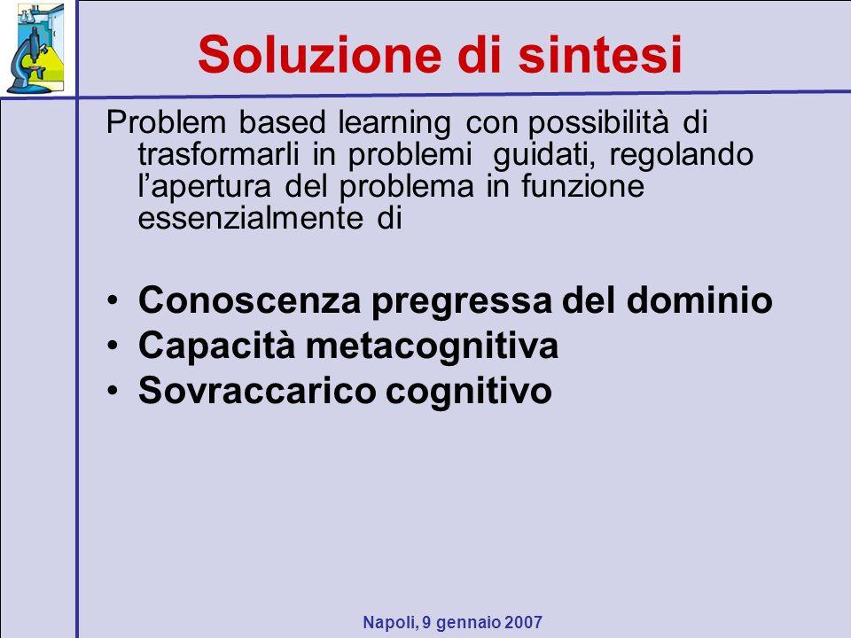 Napoli, 9 gennaio 2007 Soluzione di sintesi Problem based learning con possibilità di trasformarli in problemi guidati, regolando lapertura del problema in funzione essenzialmente di Conoscenza pregressa del dominio Capacità metacognitiva Sovraccarico cognitivo