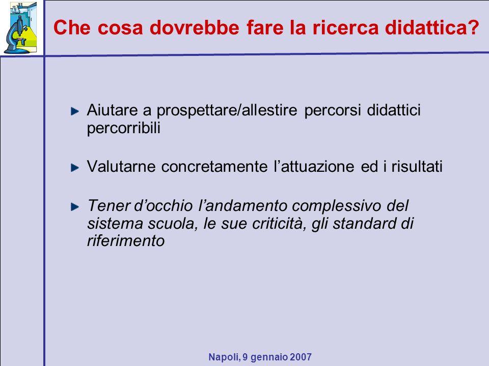 Napoli, 9 gennaio 2007 Aiutare a prospettare/allestire percorsi didattici percorribili Valutarne concretamente lattuazione ed i risultati Tener docchi