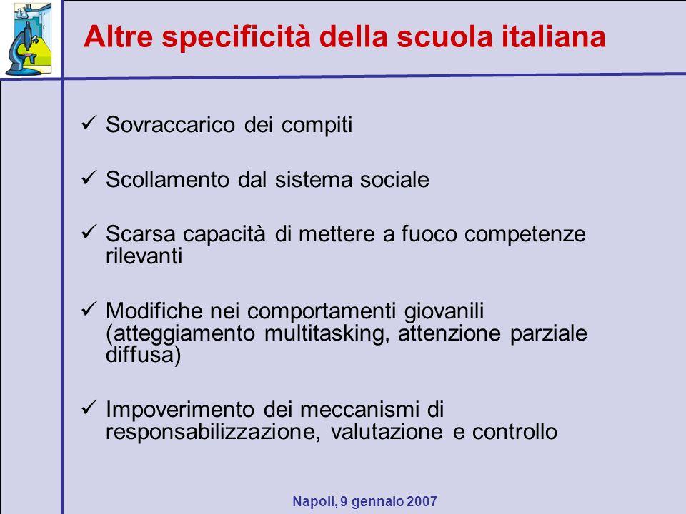 Napoli, 9 gennaio 2007 Sovraccarico dei compiti Scollamento dal sistema sociale Scarsa capacità di mettere a fuoco competenze rilevanti Modifiche nei
