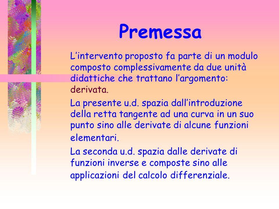 Premessa Lintervento proposto fa parte di un modulo composto complessivamente da due unità didattiche che trattano largomento: derivata.