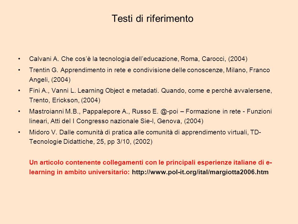 Testi di riferimento Calvani A.