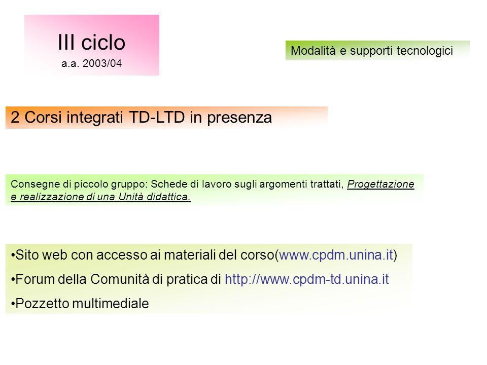 Sito web con accesso ai materiali del corso(www.cpdm.unina.it) Forum della Comunità di pratica di http://www.cpdm-td.unina.it Pozzetto multimediale III ciclo a.a.