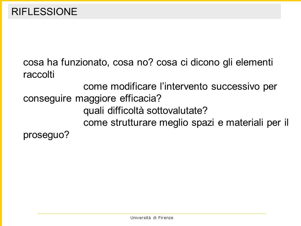 Università di Firenze cosa ha funzionato, cosa no? cosa ci dicono gli elementi raccolti come modificare lintervento successivo per conseguire maggiore