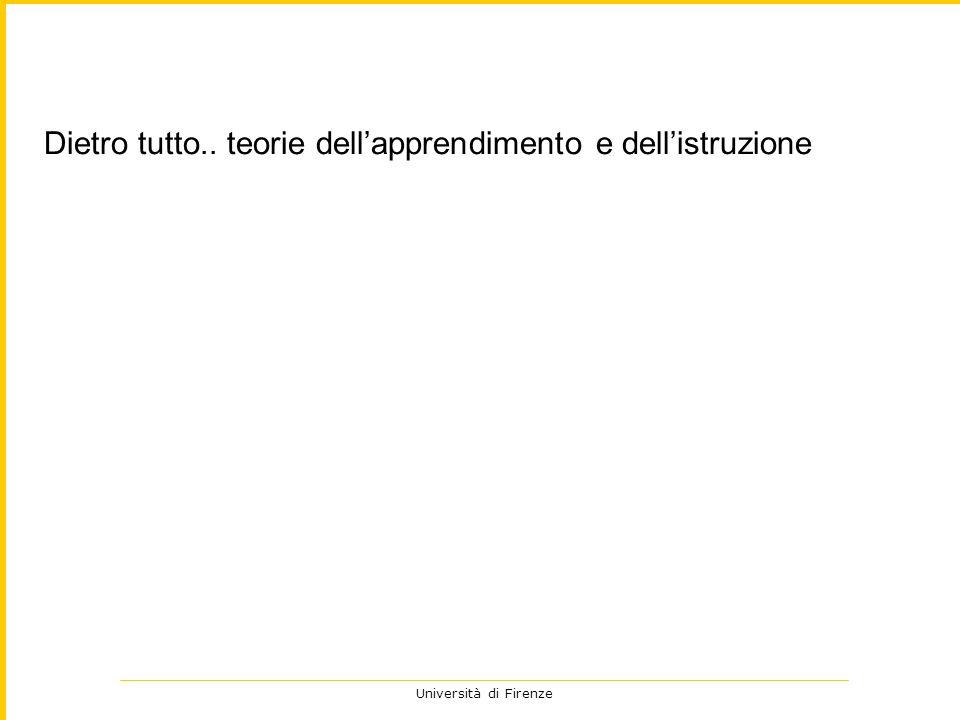 Università di Firenze Dietro tutto.. teorie dellapprendimento e dellistruzione