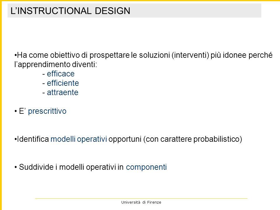 Università di Firenze Ha come obiettivo di prospettare le soluzioni (interventi) più idonee perché lapprendimento diventi: - efficace - efficiente - a