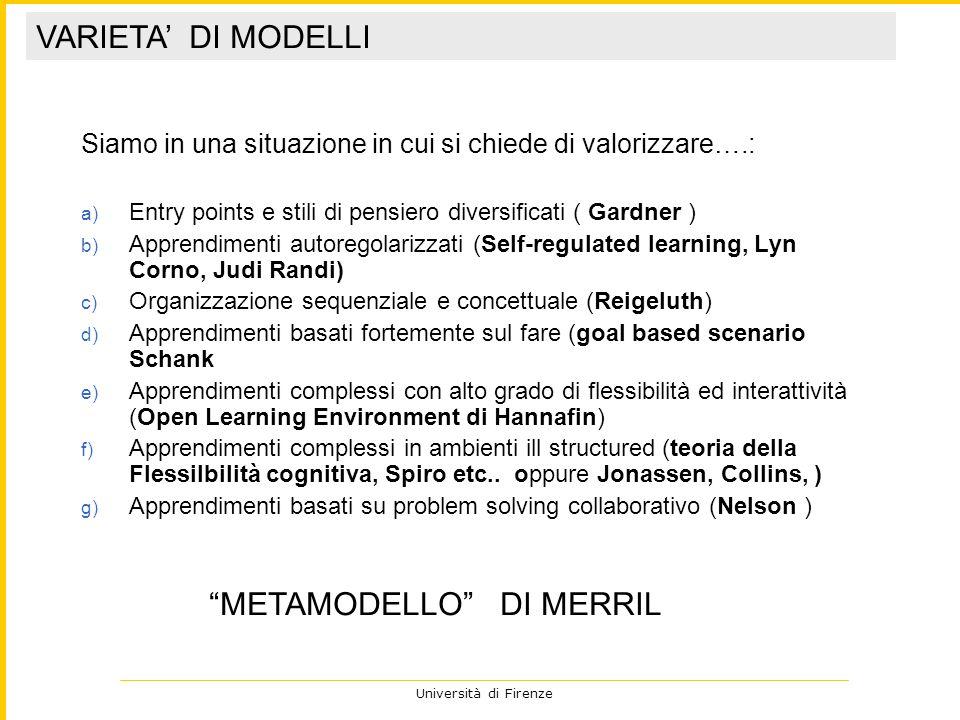 Università di Firenze Siamo in una situazione in cui si chiede di valorizzare….: a) Entry points e stili di pensiero diversificati ( Gardner ) b) Appr