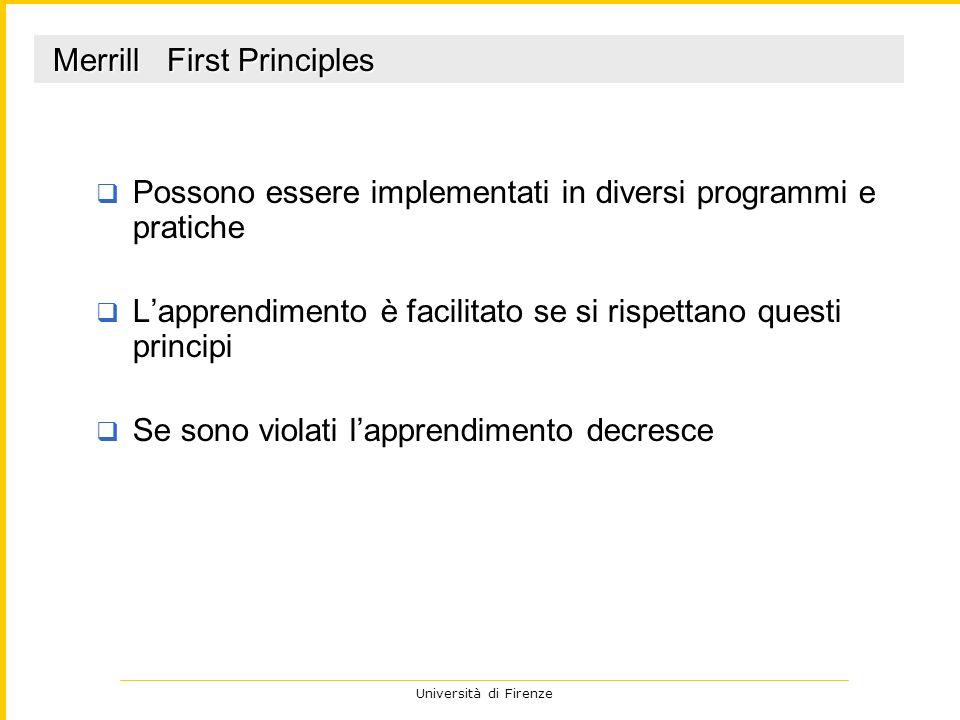 Università di Firenze Possono essere implementati in diversi programmi e pratiche Lapprendimento è facilitato se si rispettano questi principi Se sono