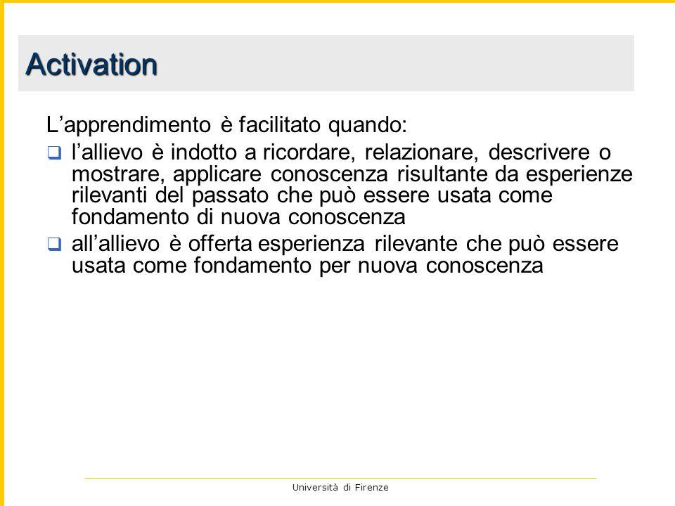 Università di Firenze Lapprendimento è facilitato quando: lallievo è indotto a ricordare, relazionare, descrivere o mostrare, applicare conoscenza ris