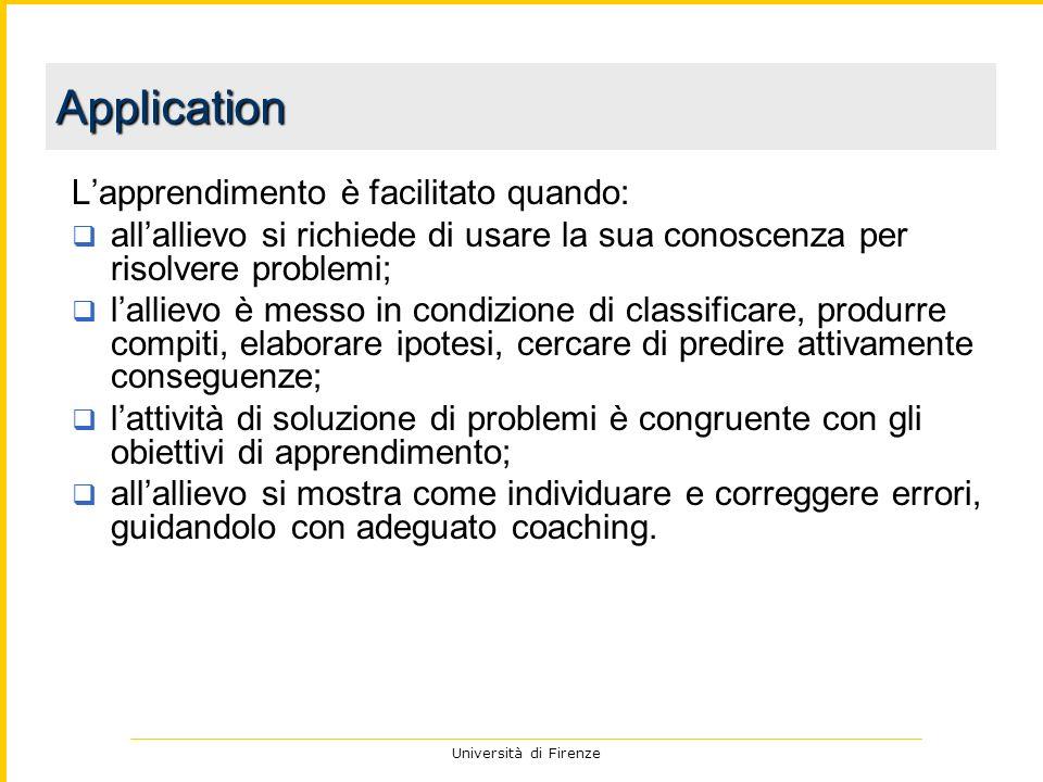 Università di Firenze Lapprendimento è facilitato quando: allallievo si richiede di usare la sua conoscenza per risolvere problemi; lallievo è messo i