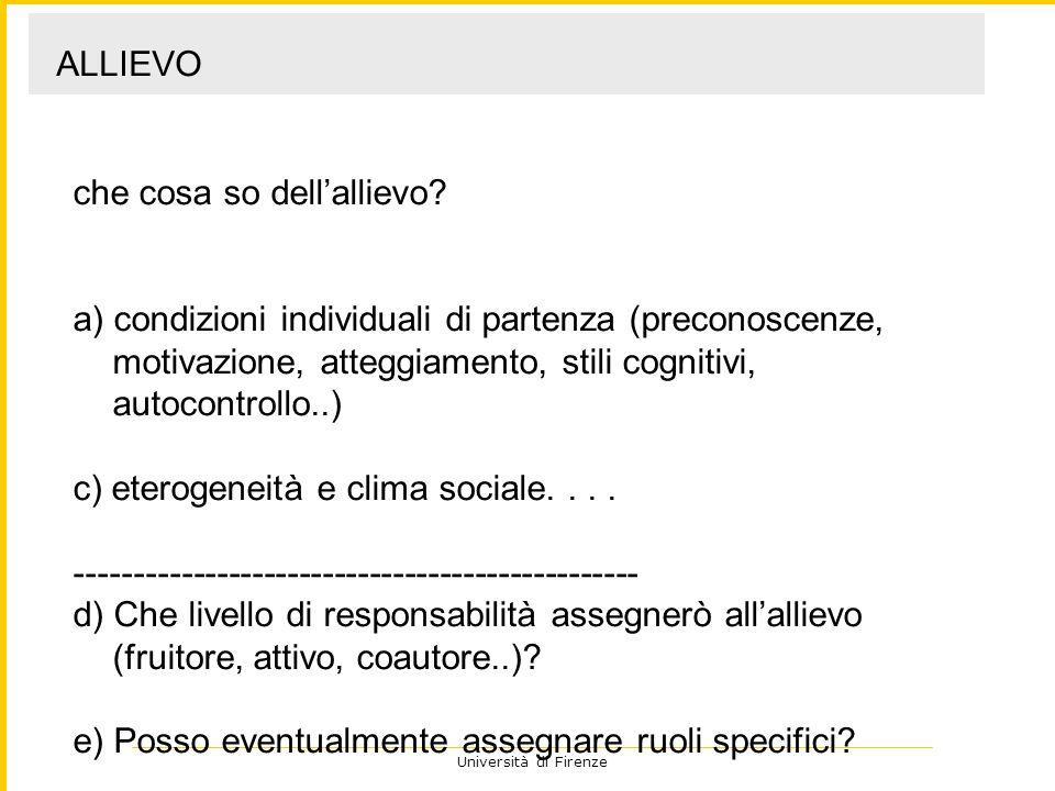 Università di Firenze che cosa so dellallievo? a) condizioni individuali di partenza (preconoscenze, motivazione, atteggiamento, stili cognitivi, auto