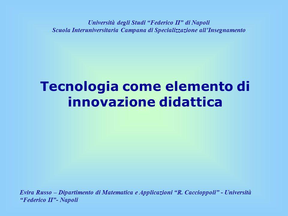 Che cosa sono le TD e quale innovazione introducono Programmazione e progettazione di un intervento didattico Organizzazione del corso