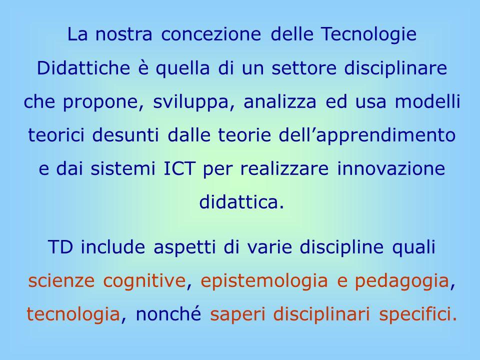 Le TD si occupano di sistemi didattici e di processi di apprendimento/insegnamento, di come fare, con luso delle ICT, modelli, progettarli e realizzarli e di valutare come tali modelli possono favorire i processi di apprendimento/insegnamento a qualunque livello scolare.