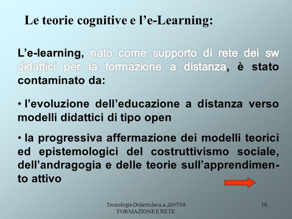 Tecnologie Didattiche a.a.2007/08 FORMAZIONE E RETE 16 Le teorie cognitive e le-Learning: