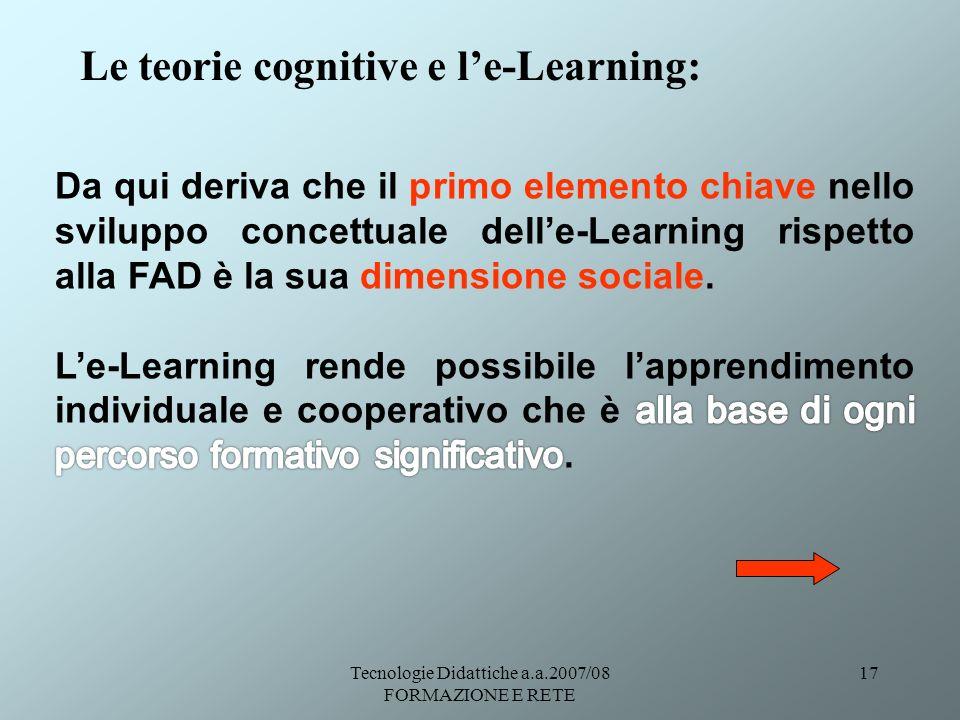 Tecnologie Didattiche a.a.2007/08 FORMAZIONE E RETE 17 Le teorie cognitive e le-Learning: