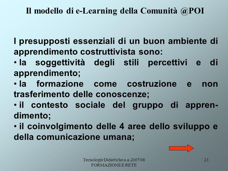 Tecnologie Didattiche a.a.2007/08 FORMAZIONE E RETE 23 I presupposti essenziali di un buon ambiente di apprendimento costruttivista sono: la soggettiv