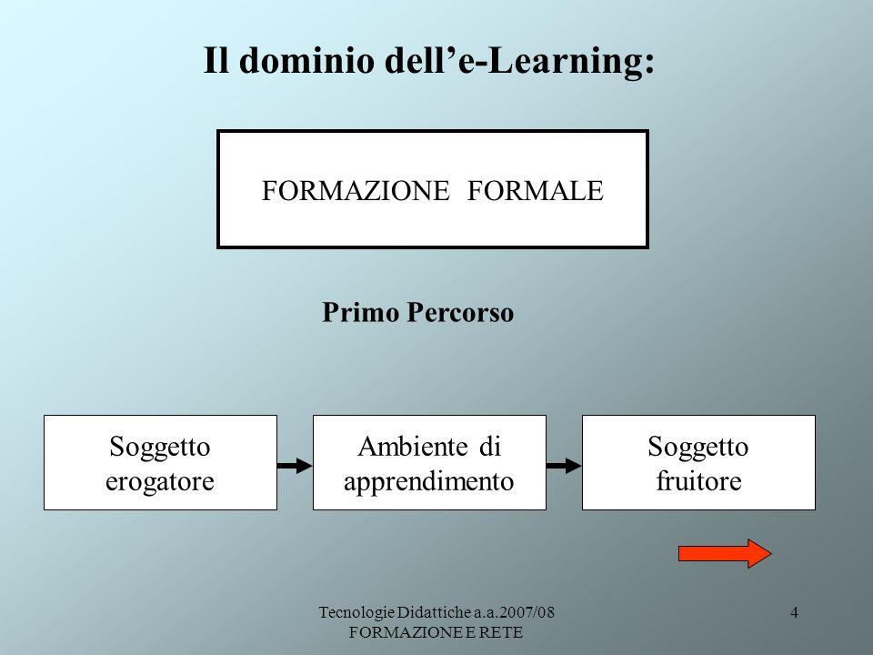 Tecnologie Didattiche a.a.2007/08 FORMAZIONE E RETE 4 Il dominio delle-Learning: FORMAZIONE FORMALE Primo Percorso Soggetto erogatore Ambiente di appr