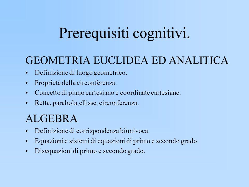 Prerequisiti cognitivi. GEOMETRIA EUCLIDEA ED ANALITICA Definizione di luogo geometrico. Proprietà della circonferenza. Concetto di piano cartesiano e