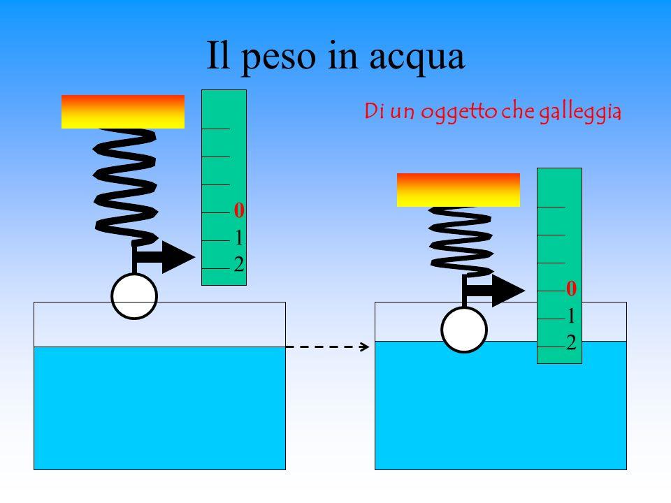Il peso in acqua 012012 012012 Di un oggetto che galleggia