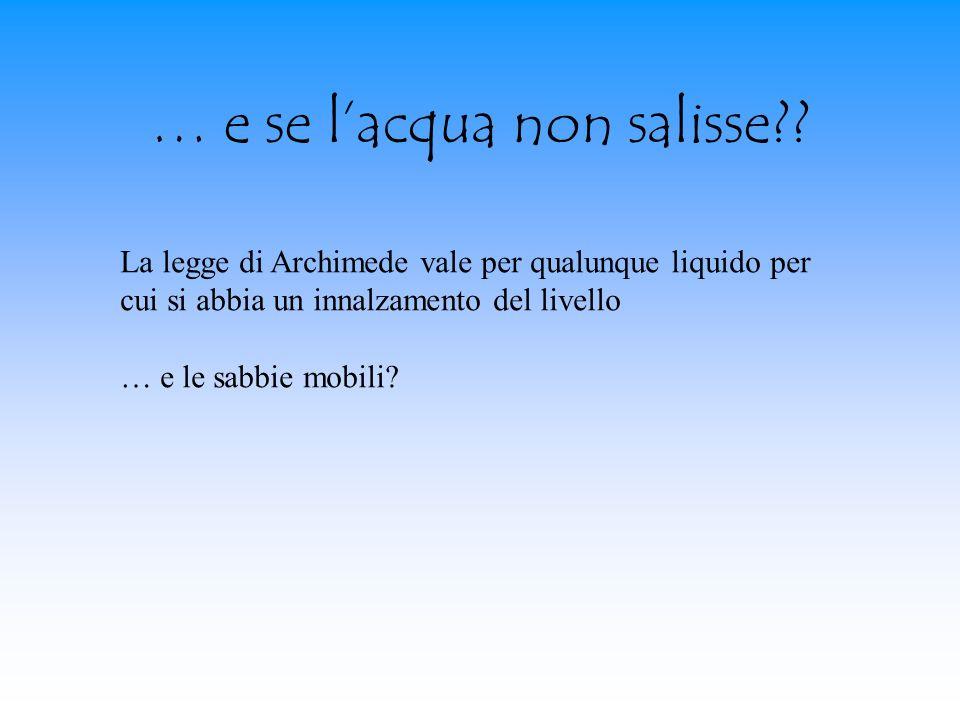 … e se lacqua non salisse?? La legge di Archimede vale per qualunque liquido per cui si abbia un innalzamento del livello … e le sabbie mobili?