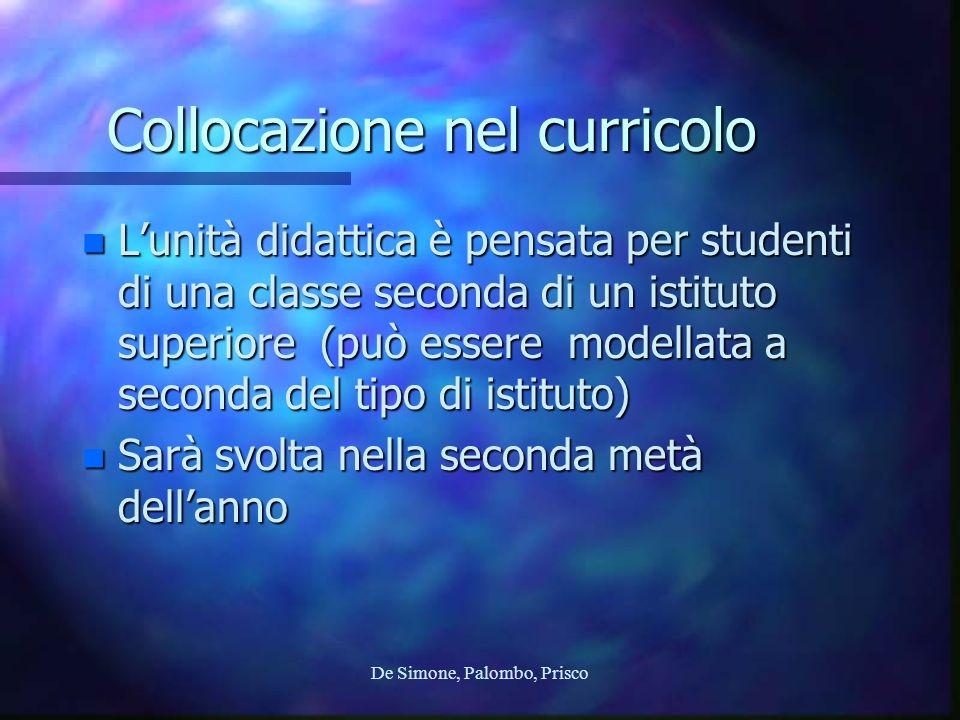 Collocazione nel curricolo n Lunità didattica è pensata per studenti di una classe seconda di un istituto superiore (può essere modellata a seconda de