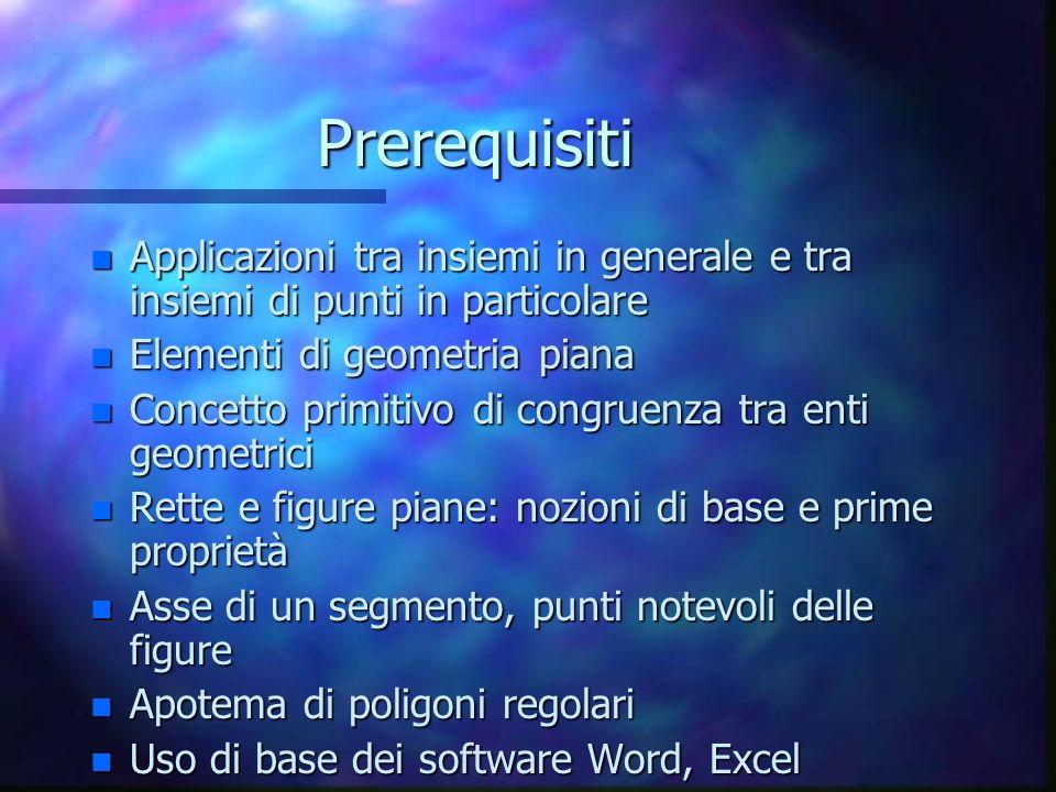 Prerequisiti n Applicazioni tra insiemi in generale e tra insiemi di punti in particolare n Elementi di geometria piana n Concetto primitivo di congru
