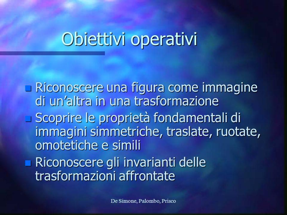 De Simone, Palombo, Prisco Obiettivi operativi n Riconoscere una figura come immagine di unaltra in una trasformazione n Scoprire le proprietà fondame