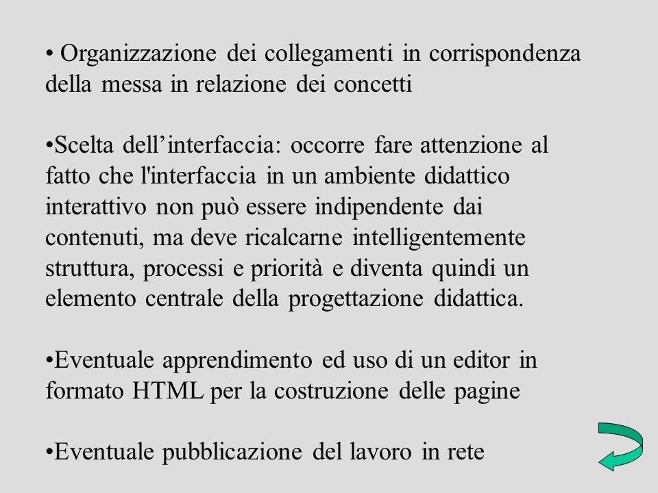 Organizzazione dei collegamenti in corrispondenza della messa in relazione dei concetti Scelta dellinterfaccia: occorre fare attenzione al fatto che l