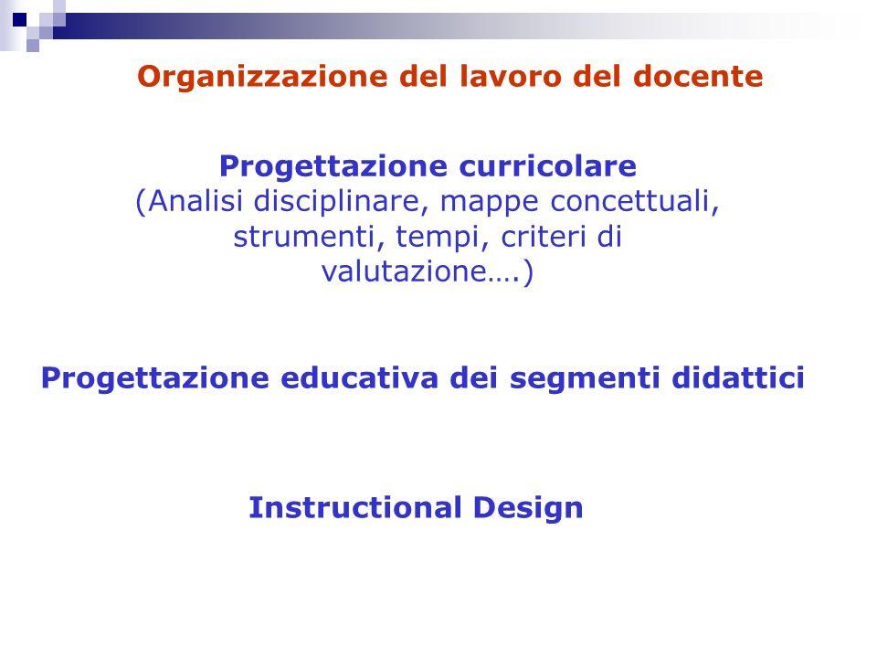 Progettazione curricolare (Analisi disciplinare, mappe concettuali, strumenti, tempi, criteri di valutazione….) Progettazione educativa dei segmenti d