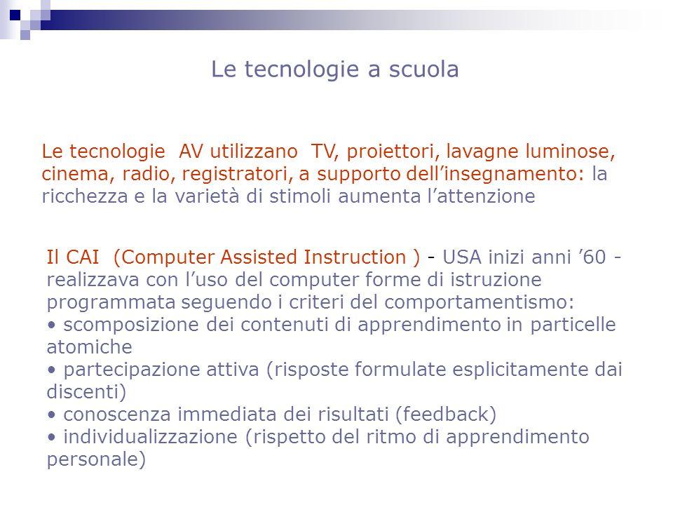 Le tecnologie AV utilizzano TV, proiettori, lavagne luminose, cinema, radio, registratori, a supporto dellinsegnamento: la ricchezza e la varietà di s