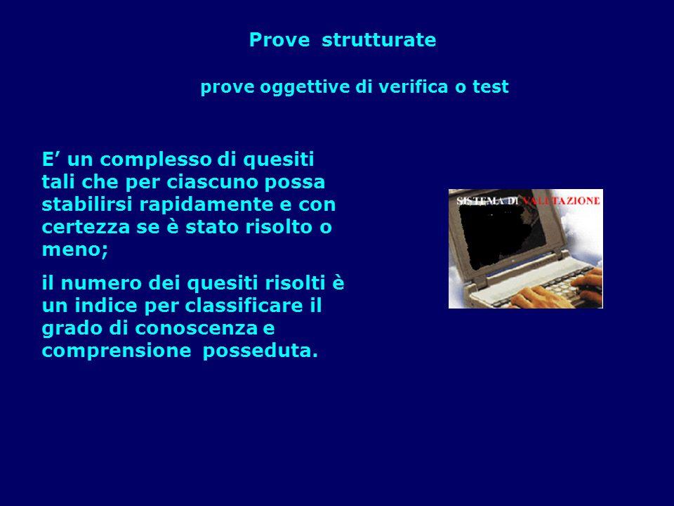 Prove strutturate E un complesso di quesiti tali che per ciascuno possa stabilirsi rapidamente e con certezza se è stato risolto o meno; il numero dei