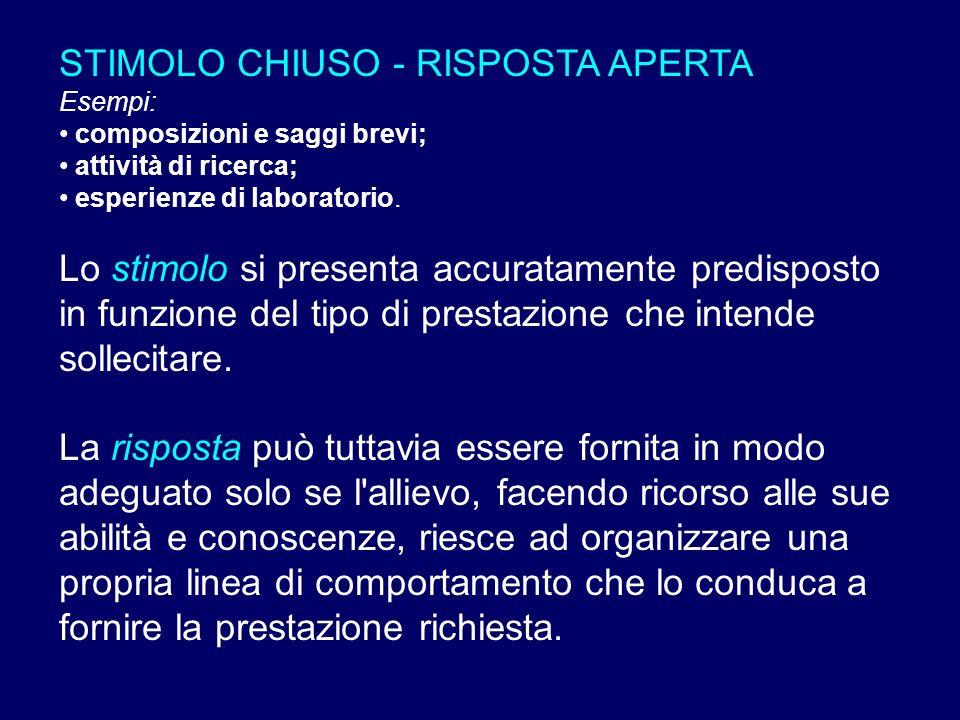 STIMOLO CHIUSO - RISPOSTA APERTA Esempi: composizioni e saggi brevi; attività di ricerca; esperienze di laboratorio. Lo stimolo si presenta accuratame