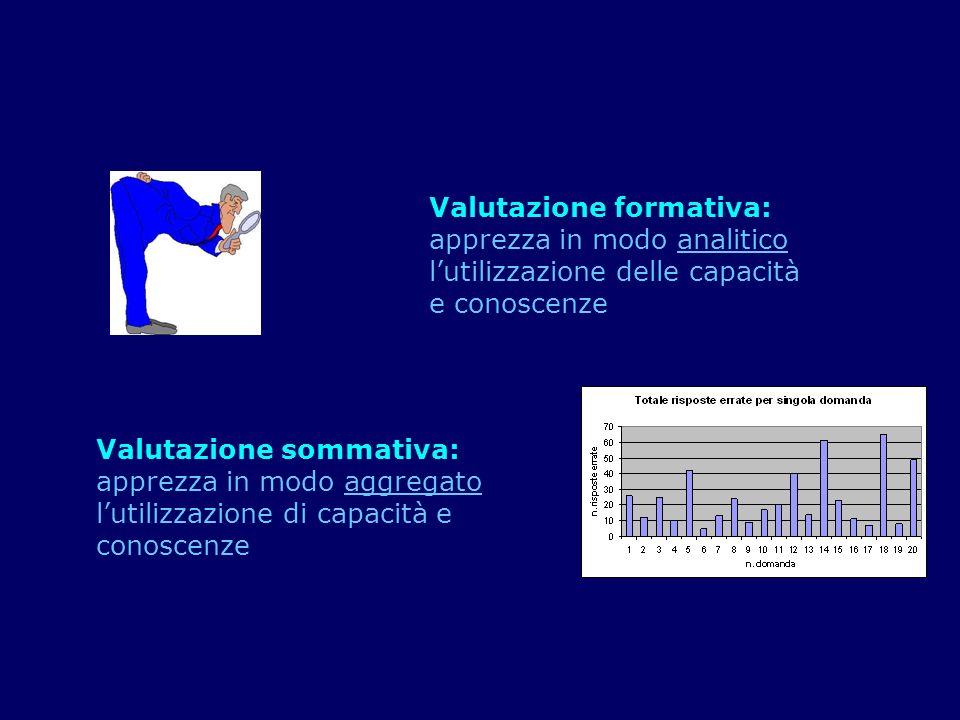 Valutazione formativa: apprezza in modo analitico lutilizzazione delle capacità e conoscenze Valutazione sommativa: apprezza in modo aggregato lutiliz